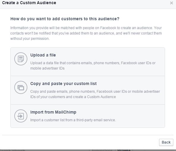 Facebook导入邮件列表 网站访客 再营销