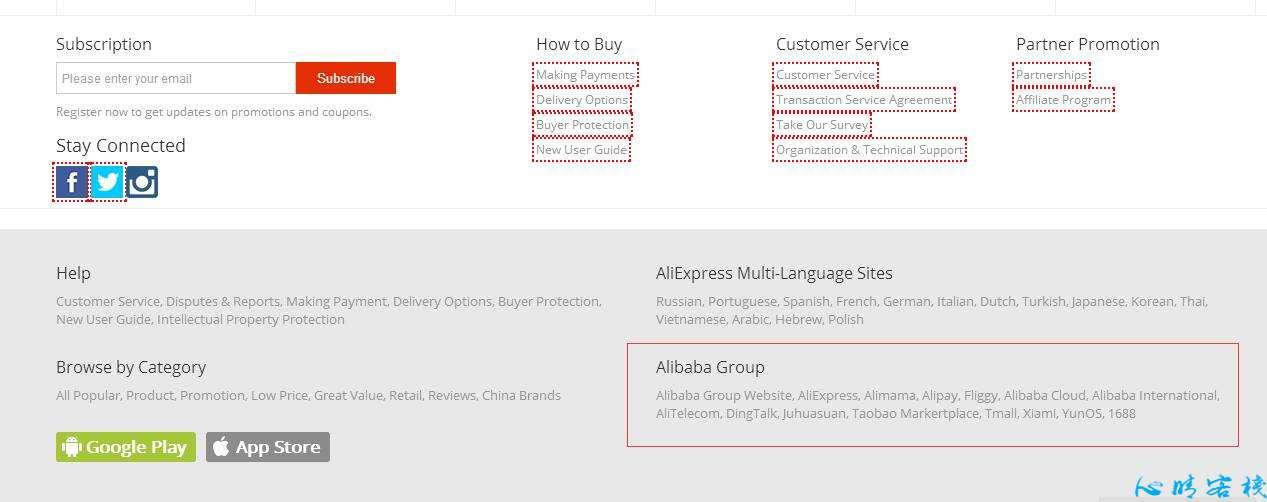 Alibaba、Aliexpress 一些SEO,SNS细节处理对比