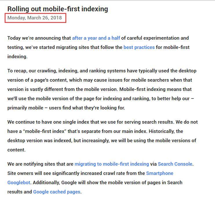 移动端SEO时代- Google正式开始转向移动优先索引