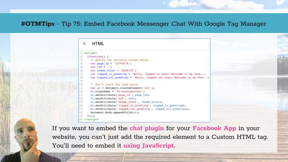 使用Google Tag Manager嵌入facebook的聊天窗口